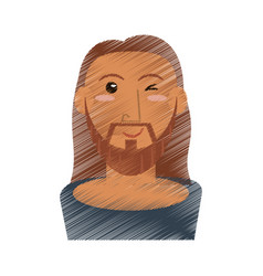 drawing jesus christ wink face vector image