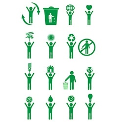 Go green people icons set vector image