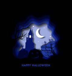 happy halloween night 3d abstract paper cut vector image