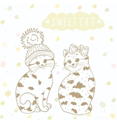 Two cute kitten vector image
