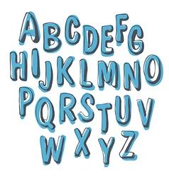 blue doodles alphabet vector image vector image