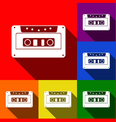 cassette icon audio tape sign set of vector image vector image