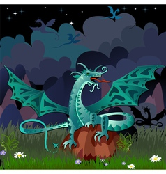 dragon in the night landscape vector image vector image