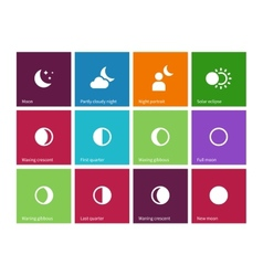 Full moon phases icons on color background vector image vector image