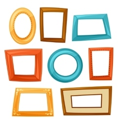 Set of color various frames on white background vector image