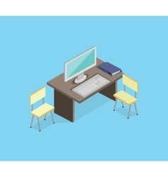 Workplace Empty Isolated Design Isometric vector image vector image