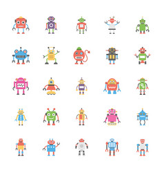 a pack of robotics flat icons vector image