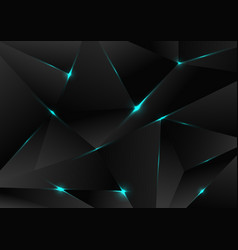 abstract black polygon pattern with blue laser vector image