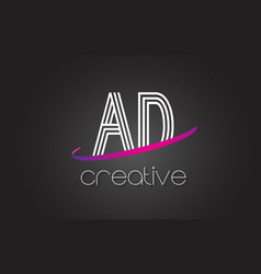 Ad a d letter logo with lines design and purple vector