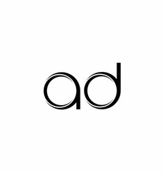 Ad logo monogram with slice rounded modern design vector