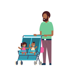 African father beard baby sister brother twins vector