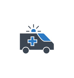 Ambulance car glyph related icon vector
