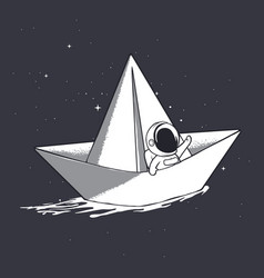 Astronaut on paper boat vector
