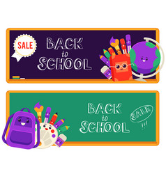 back to school sale set of vector image