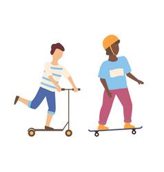 boy balancing on scooter skateboarder in helmet vector image