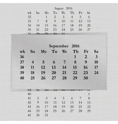 calendar month for 2016 pages September vector image