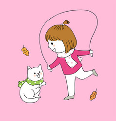cartoon cute autumn girl and cat playing vector image