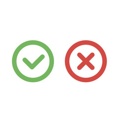 Check mark green and red line icons vector