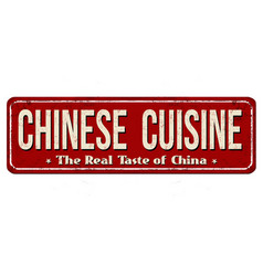 chinese cuisine vintage rusty metal sign vector image