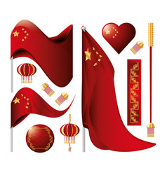 chinese culture set icons vector image