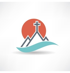 Church sun abstract icon vector