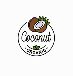 coconut fruit logo round linear coconut slice vector image