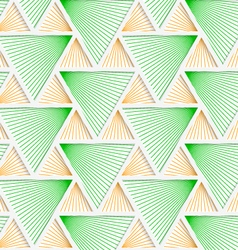 Colored 3D green and orange striped triangles with vector image