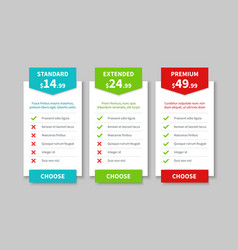 Comparison pricing list price plan table product vector