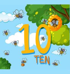 Count number ten bee vector