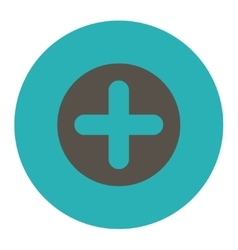Create flat grey and cyan colors round button vector