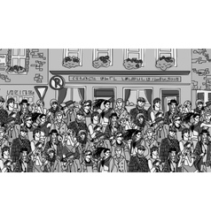 Crowd happy people on the street monochrome vector image