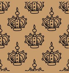 Crown doodle pattern vector