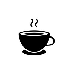 cup coffee black icon on white background vector image