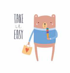 Cute bear with ice cream and shopping bag vector