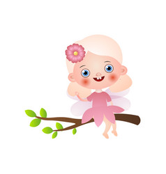 cute blonde fairy girl in pink dress stay on tree vector image