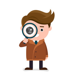 cute happy smiling detective look at the magnifier vector image