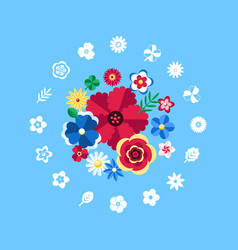digital blue flowers set icons vector image