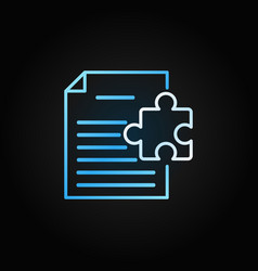 document with puzzle creative line icon or vector image