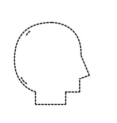 Dotted shape silhouette man head vector