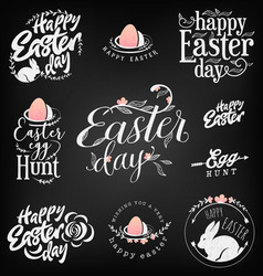 easter greeting card elements labels and badges vector image