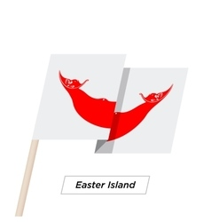 Easter Island Ribbon Waving Flag Isolated on White vector image