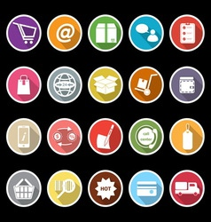 Ecommerce icons with long shadow vector