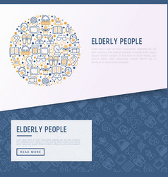 Elderly people concept in circle vector