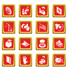 election voting icons set red square vector image