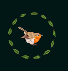 embroidery blackthorn leaves and robin bird vector image