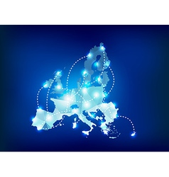 European Union map polygonal with spot lights vector image