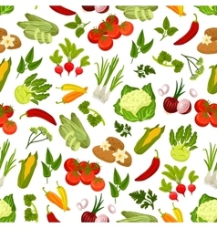 Farm fresh vegetables seamless pattern vector image
