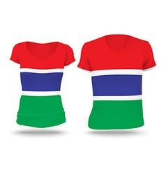 Flag shirt design of Gambia vector