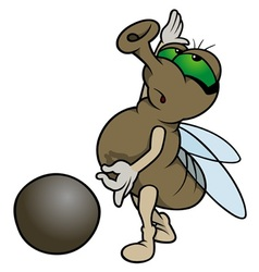 Fly Playing Marbles vector