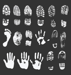 Foot and hand prints vector